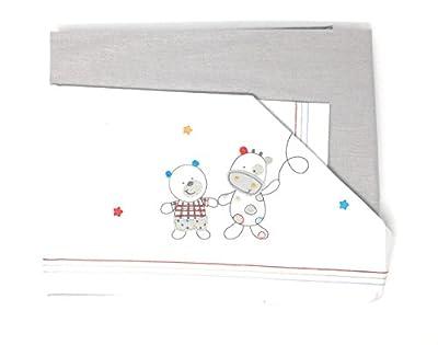 Sabanas 100% Algodón MAXICUNA - Amigos. Color Blanco-gris (bajera+encimera+funda almohada).Danielstore