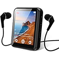 Bluetooth 5.0 Reproductor MP3, 16GB Reproductor de Música 1.8 Pulgadas Pantalla Táctil Completa, con Altavoz, FM Radio, Grabación, Podometro, Auriculares, Soporte Expandible hasta 128G…