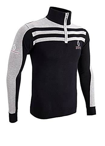 Sunderland 1/4 Zip Stripe Golf Sweater Black/Light Grey Extra Large