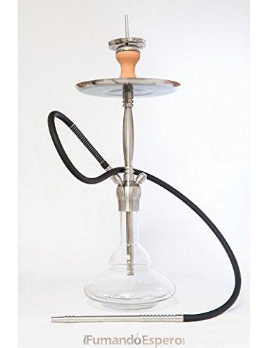 FumandoEspero Shisha - Cachimba Premium Walden ST-04 de Cristal y Acero Inoxidable 75 cm