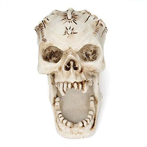 LouiseEvel215 Schädel Kopf Ornament Skeleton Schreibwaren Stifthalter Home Office Desktop Bleistift Organizer Makeup Tools Lagerung Halloween Decor
