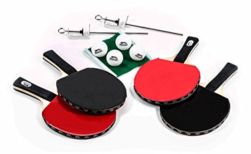 Tischtennis-Set inkl. Tasche, 4 Schläger, 4 Bälle, 1 Netzgarnitur, mobil, 10-teilig