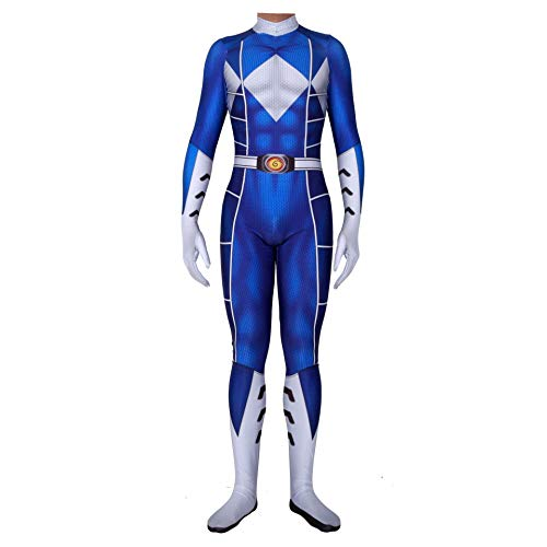 TOYSSKYR Power Rangers Cosplay Kostüm Körper Strumpfhose Halloween Bühnenshow Kostüm Requisiten (Color : Blue, Size : XL)