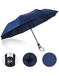 Paraguas plegable, Proking Paraguas a prueba de viento (60 MPH) Paraguas de viaje Compacto Automático Paraguas abierto y cerrado Irrompible 10 costillas Paraguas de golf Operación a una mano