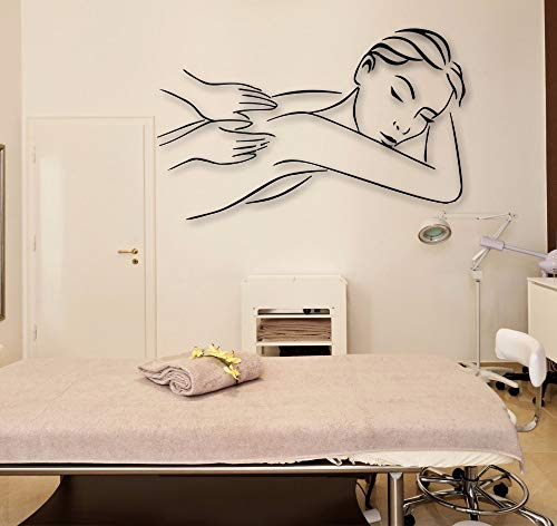 Therapie Flache Bänder (Vinyl Wandtattoo Massage Therapie Spa Entspannen Schönheitssalon Wandkunst Aufkleber Frau Vinyl Aufkleber Dekore vinilos Parede 38 * 58 cm)