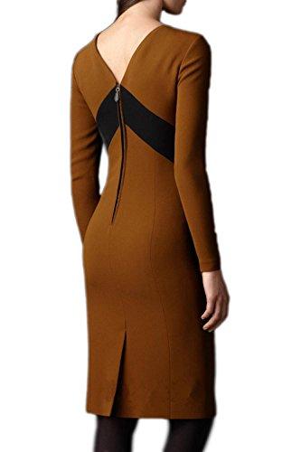OL Kleid mit Schlitz für Damen elegante Patchwork Khaki