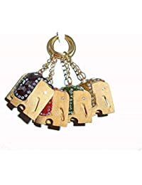 A Set Of 5 Decorative Wooden Elephant Key Chain For Home & Office Use & Gift Greeting.