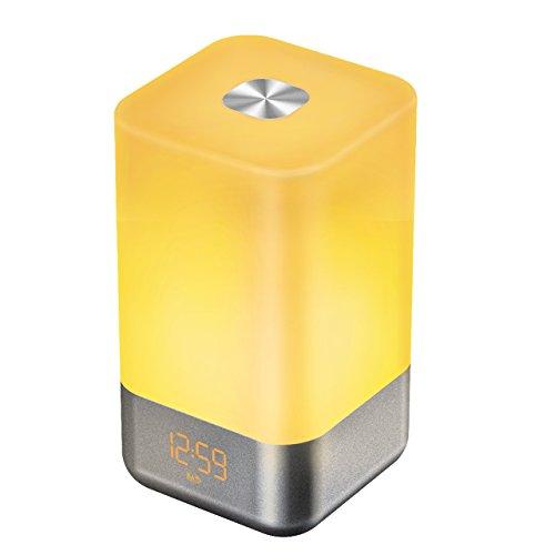 OMorc Wake-up Light Sveglia Alba, Lampada Sveglia Luce Notturna LED con Touch Sensore 7 Colori, 3 Intensità di Luminosità, 5 Suoni di Sveglia. per Camera Soggiorno Regalo Compleanno Natale ecc