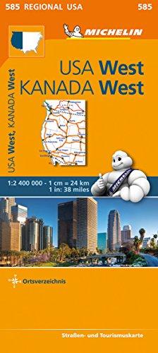 Michelin USA West, Kanada West: Straßen- und Tourismuskarte 1:2.400.000 (MICHELIN Regionalkarten) (Westküste Kanada)