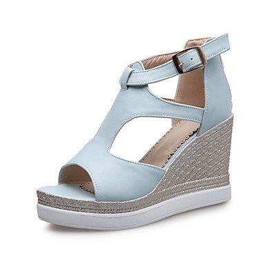 LvYuan Damen-Sandalen-Kleid Lässig Party & Festivität-maßgeschneiderte Werkstoffe Kunstleder-Keilabsatz-Neuheit Club-Schuhe-Blau Rosa Weiß Blue