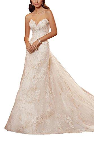 GEORGE BRIDE Faecherfoermigen Ausschnitt A Line Garn Brautkleider Hochzeitskleider, Groesse 36,...