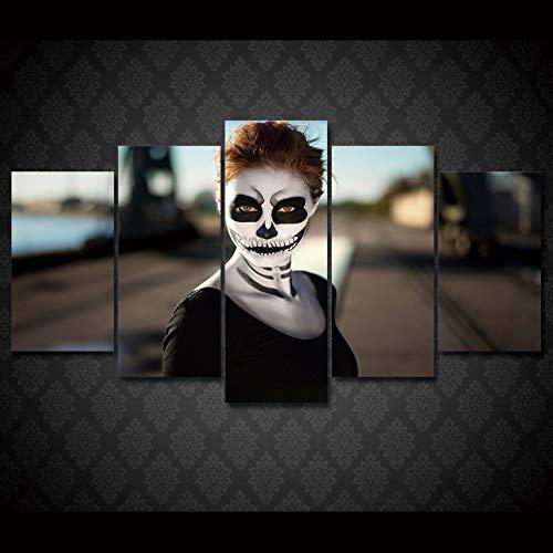 kuanmais Hd Gedruckt Mädchen Halloween Poster 5 Stücke Gruppe Malerei Raumdekor Poster Bild Leinwand
