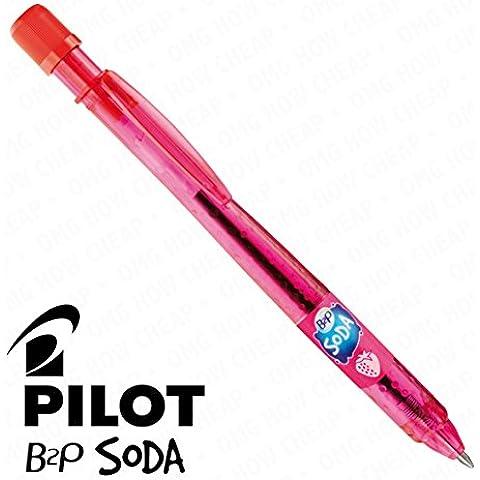 Pilot Soda–Penna a sfera retrattile, singolo, colore rosso fragola [94% di plastica riciclata]