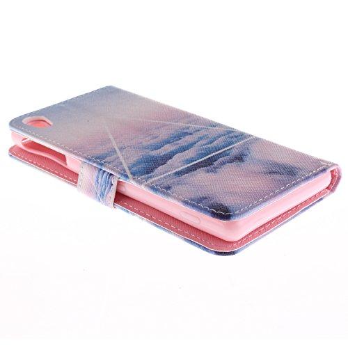 MCHSHOP(TM) Vielzahl von Mustern Book Style Design Leder Tasche Flip Case Cover Schutzhülle Etui Hülle Schale Für Sony Xperia Z3 mit Kartensteckplätze Standfunktion - 1 Touch pen kostenlos (Löwenzahn  Weiße Wolken am Himmel