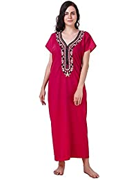 MILIT 100% Pure Cotton Embroidered`Nighty with One Side Pocket(Free Size  fits d73a87bb6