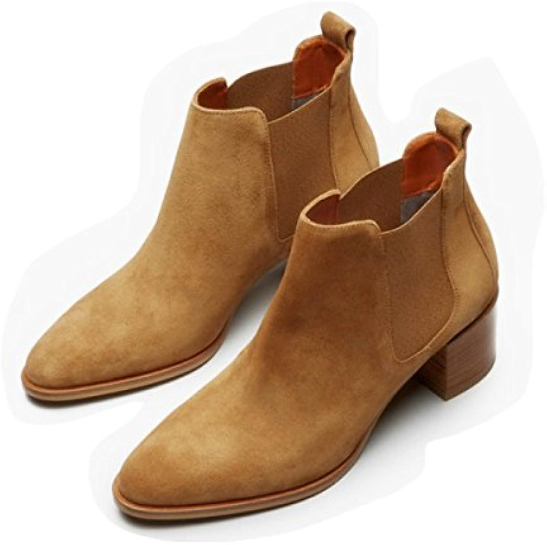 Otoño E Invierno Cuero Botas Nuevo Grueso Con Tubo Corto Chelsea Botas Punta Zapatos De Mujer