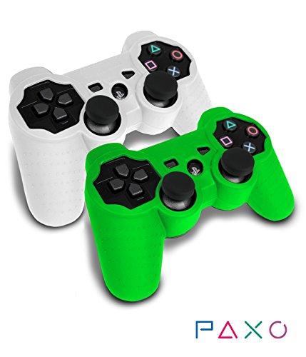 Preisvergleich Produktbild 2 x PAXO PS3 Silikon-Schutz-Hülle / Sleeve Bundle weiß-grün