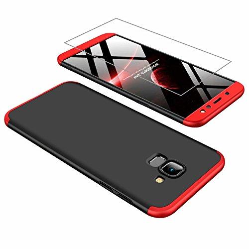 AILZH kompatibel für HandyHülle Galaxy A6 2018 Hülle 360 Grad Schutzhülle PC Hartschale Anti-Schock Stoßfänger 360° Cover Case matte Schutzkasten+Gehärteter Glasfilm(Rot und schwarz)