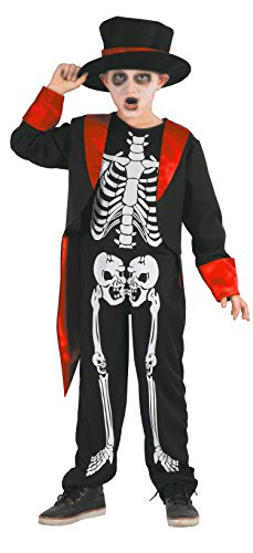 Weiß Kind Skelett Kostüm - Magicoo Gentleman Skelett Kostüm Kinder Jungen schwarz-rot-weiß - schickes Halloween Kostüm Jungen (110/116)