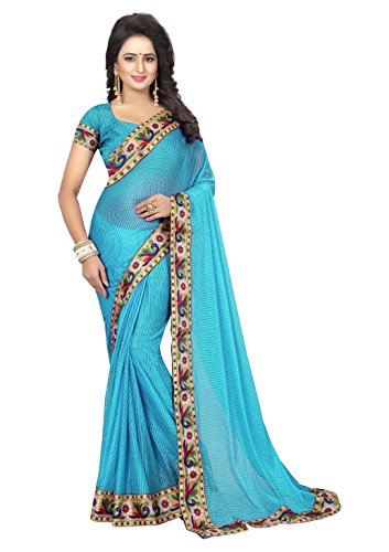 Krishna Emporia Polyester Saree With Blouse Piece (Fancy Saree K3_Sky Blue_Free Size)