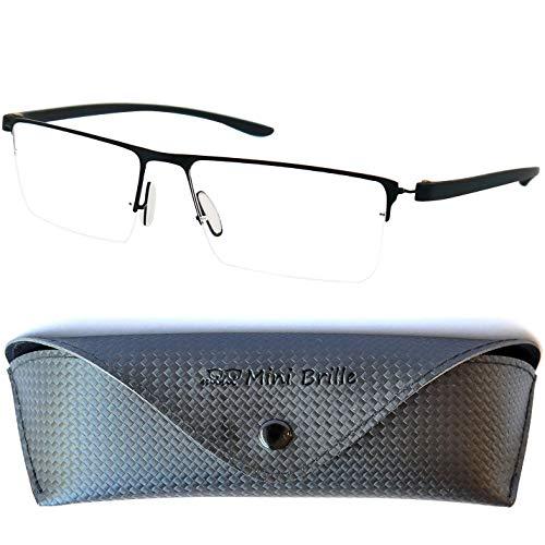 Leichte Metall Halbbrille Lesebrille mit rechteckigen Gläsern - mit GRATIS Etui und Brillenputztuch | Edelstahl Rahmen (Schwarz) | Lesehilfe für Damen und Herren | +2.5 Dioptrien