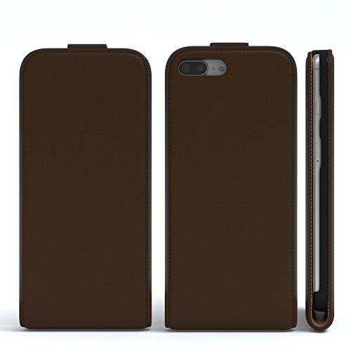 iPhone 8+ Hülle / iPhone 7+ Hülle - EAZY CASE Premium Flip Case Klapphülle für Apple iPhone 7 Plus & iPhone 8 Plus - Edle Schutzhülle aus Leder mit Magnetverschluss in Lila Braun