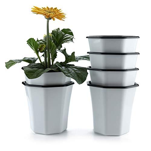 T4U Pot à Fleurs Auto-Irrigation Blanc en Plastique Octogone Lot de 6, Plante Planteur Cache Pot Jardinière Contenant Design Créatif Décoration de Maison Bureau Cadeau pour Anniversaire Mariage
