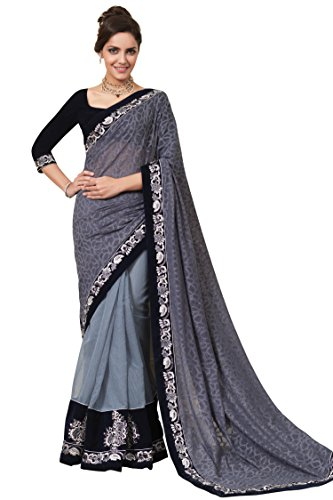 Chirag Sarees Synthetic Saree (2442-B_Grey)