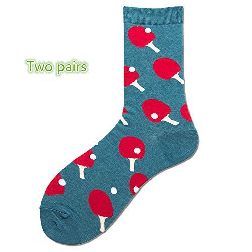 Morbuy Sportsocken Herren Damen Glückliche Socken Geometrisches Fruchtmuster Baumwollsocken Deodorant Atmungsaktive 2er-Pack Bunt Socken. (Tischtennis)
