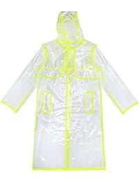 Zicac Damen/Kinder EVA Regenbekleidung Fashion City Transparente klar Regenmantel Raincoat Wasserdicht Regenjacken Mit Kapuze