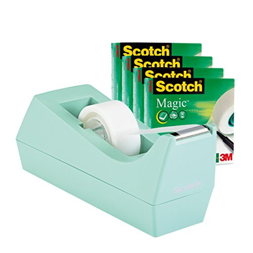 Scotch C38MSM4 Tischabroller Promotion, inkl. 4 Rollen Magic Klebeband, 19 mm x 33 m, mint