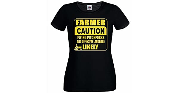 Mens Black Caution Farmer T-Shirt Agriculturalist Occupation Work T-Shirt