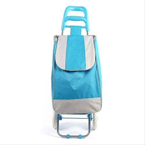 WEN FENG Einkaufstrolley Treppensteiger Einkaufstrolley 45 L Einkaufswagen Stahlgestell klappbar Supermarkt Einkaufswagen 91 X 35 X 25 cm 45L azurblau