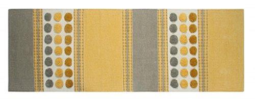 Homescapes moderner Chenille Teppich Läufer grau senfgelb 66 x 200 cm Circles & Stripes Küchenläufer