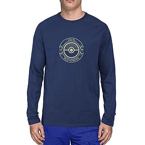 Planet Nerd - Old School - Herren Langarm T-Shirt, Größe S, dunkelblau