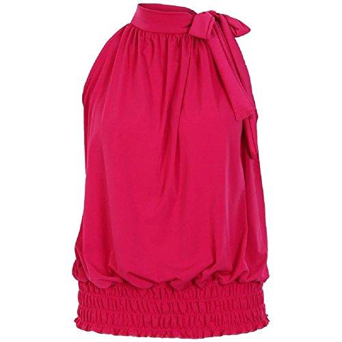 Flirty Wardrobe Haut dos-nu Sans manches pour femme Débardeur Long avec Taille 36–50 Rose - Fuchsia