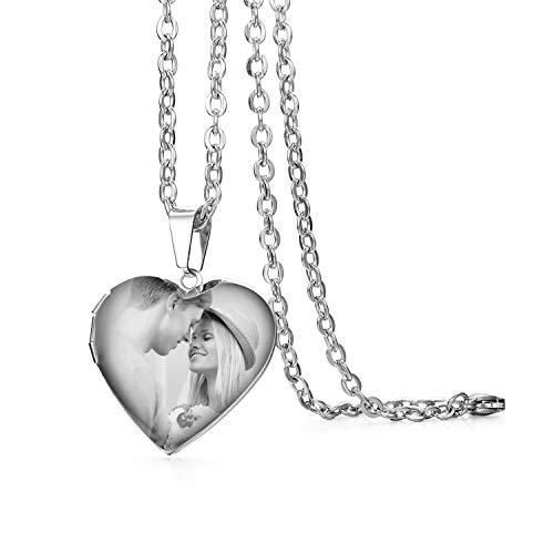 JewelryWe Schmuck Damen Herz Halskette mit persönlicher FOTOGRAVUR | Bild & Text Gravur, Edelstahl Foto Medaillon zum Öffnen Photo Bilder Amulett Poliert Silber Herzanhänger Kette mit Anhänger