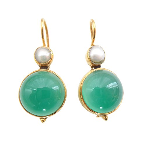 Eleganti orecchini in agata verde, turchese, con gancio, in argento placcato oro, con piccola perla d'acqua dolce, stile retrò, pezzo unico, realizzato a mano in Italia