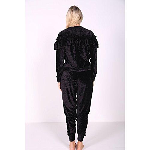 Ladies Ruffle Frill Velour Vêtements de salon Co Ord Set EUR Taille 36-46 Noir