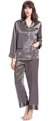 27623f11a9 LILYSILK Seide Schlafanzug Nachtwäsche Damen Pyjama Set 3 Teilig mit Weißem  Besatz Kurz/Lang von ...