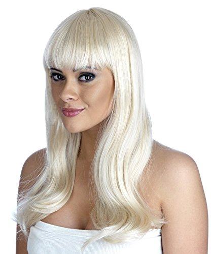 Ladies 70s Agnetha ABBA Fringe Wig Platinum Blonde