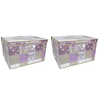AQS International  Children Foldable Pop Up Large Storage Chest Toy Book Box Tidy Purple Patchwork (2x Purple Patchwork)