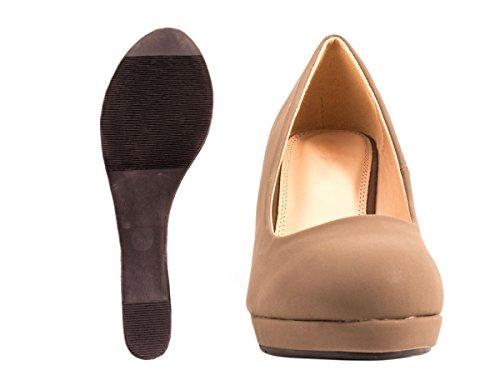 Elara Damen Pumps Keilabsatz Wedges Schuhe mit Plateau Khaki
