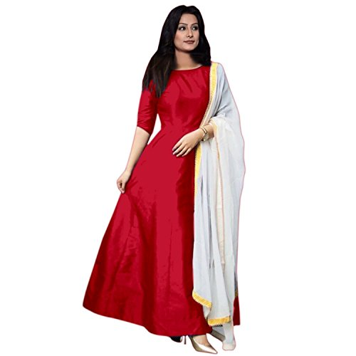Nirali fashion Women's Tapeta Silk Suit Piece Plain Long Gowns with Dupatta (Red, Free Size)