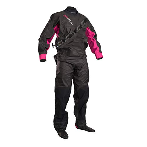 GUL Frauen Dartmouth ECLIP Zip Drysuit Dry Suit Schwarz Rosa Gm0383-B5 Einschließlich Underfleece. Wasserdicht und atmungsaktiv