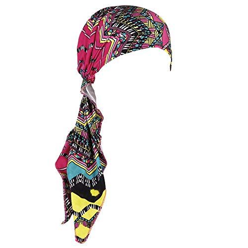 CHIRORO Damen Kopftuch Blumen Drucken Ethnic Turban Hut Long Tail Muslimischer Bandana Chemo Cap Stirnband Schal Headwrap Kopfbedeckung Für Krebs, Haarausfall, Schlaf, rot grün -
