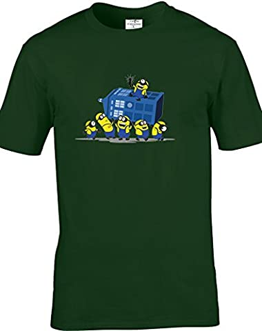 Funny Despicable Minions Dr Who Inspired Adult Unisex Tshirts Available in multiple Colours And Sizes. FREED DELIVERY INCLUDED.
