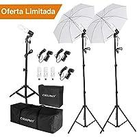 CRAPHY Paraguas Fotografía Kit de Iluminación Continua para Estudio Fotográfico, 3X 45W Bombillas, 3X
