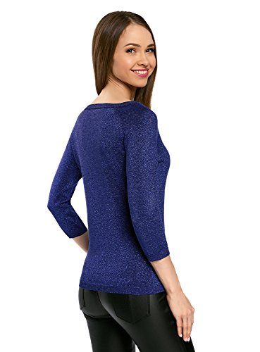 oodji Collection Femme Pull Brillant à Manche 3/4 Bleu (7500X)