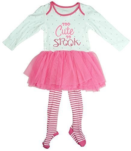 Mädchen Baby auch süß zum Gespenst Tutu Body & Strümpfe Halloween Kostüm Set Größen von Neugeborene bis 18 Monate - Rosa, 0 - 3 (Verkauf Et Kostüme Zum)